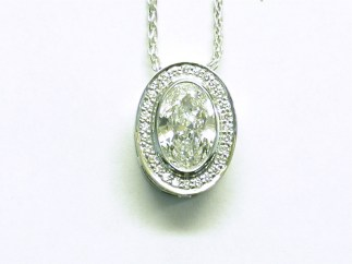 custom halon ovan diamond pendant