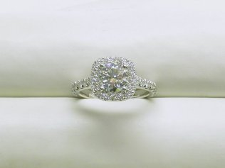 custom halo diamond engagement ring