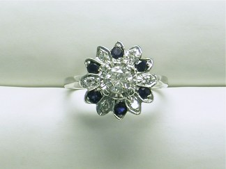 DR2519 Vintage Sapphire and Diamond Cluster Ring, 14K White Gold