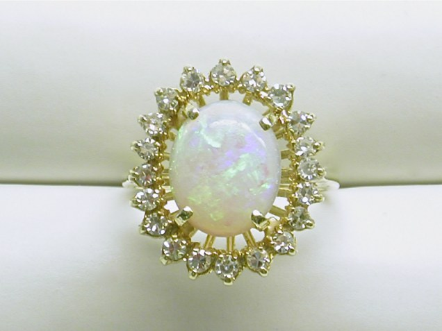 dr-2636 Opal & diamond cluster ring, 14K yellow gold