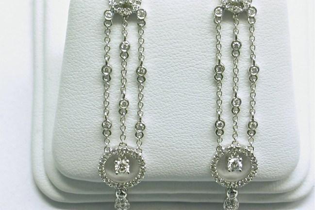 e-959 Chandelier style diamond earrings, 18K white gold
