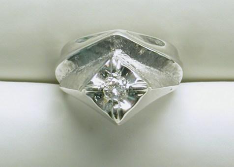gd-2201 Mens solitaire diamond estate ring, 14K white gold