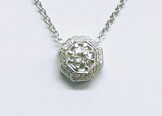 p-350 Pendant with a solitaire diamond, vintage style, 18K white gold
