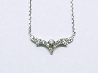 p-423 Diamond vintage style pendant, 14K white gold