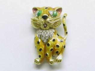 PB 525 Vintage Enamel & Diamond Leopard Pin, 18K Yellow Gold