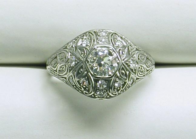 SB 2897 Tapered Filagree Vintage Diamond Platinum Ring