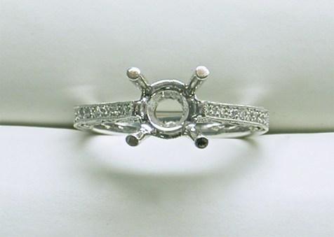 sb-2967 Filagree estate style platinum diamond engagement ring