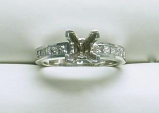 sb-2994 Princess cut channel set engagement ring, 14K white gold