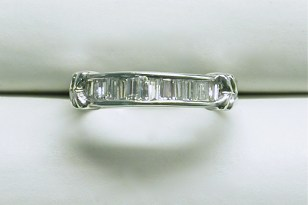 wb-1490 Channel set baguette diamond wedding band, 14K white gold