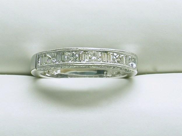 wb-1566 Vintage style filagree wedding band, 18K white gold