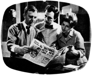 """Keeping up with the news. Glyn Houston, Jeremy Young and Armine Sandford at work in the """"Daily Globe"""" office for """"Deadline Midnight""""."""