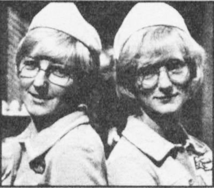 """Mrs. Sylvia Gough, of Walsall, Staffs., is the double of Sally Adcock (who plays Jane Smith). """"I'm always being mistaken for Sally,"""" she said. """"And I was thrilled to be on the Crossroads set."""" Sylvia looks so like her double, that while she was being made-up ready for our picture, one of the Crossroads team told her to report for a script briefing... """"I'm amazed at the likeness. It's quite unnerving,"""" said Sally Adcock."""