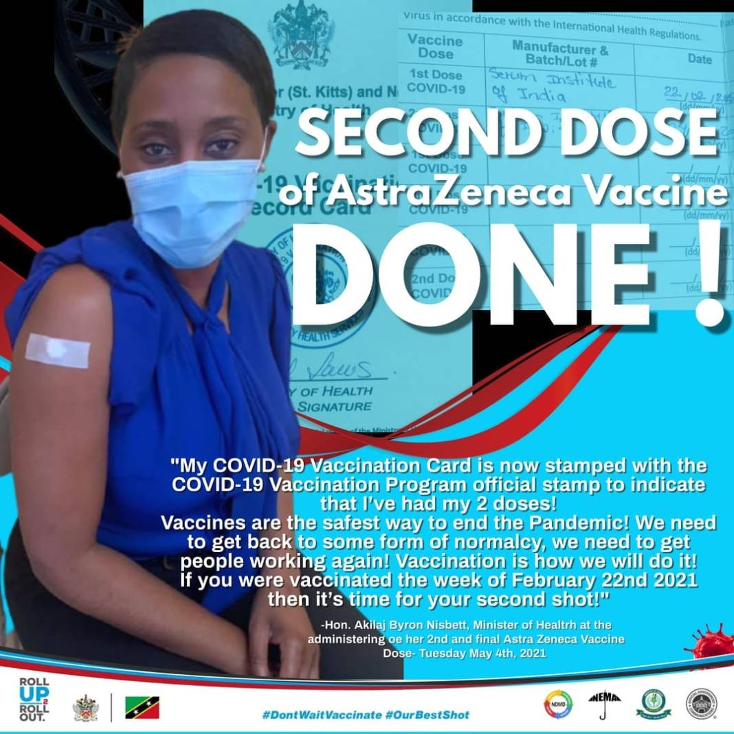 Akilah Byron Nisbett, Minster of Health receiving second dose of COVID-19 vaccine