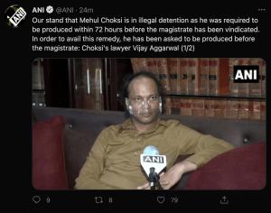 Lawyer of Mehul  Choksi, Vijay Aggarwal during his interaction with ANI