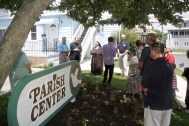 Knights and parishioners of Saint Bridget's gather at the Parish Center for the Flag Day ceremony.