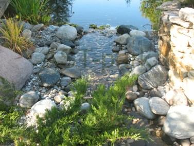 Ручей, впадающий в пруд