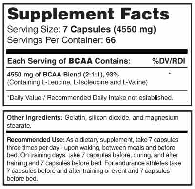 BCAA 4500 Supplement Facts