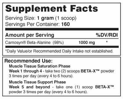 Beta-X Powder Supplement Facts