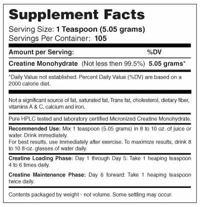 Micronized Creatine 530 Grams Supplement Facts