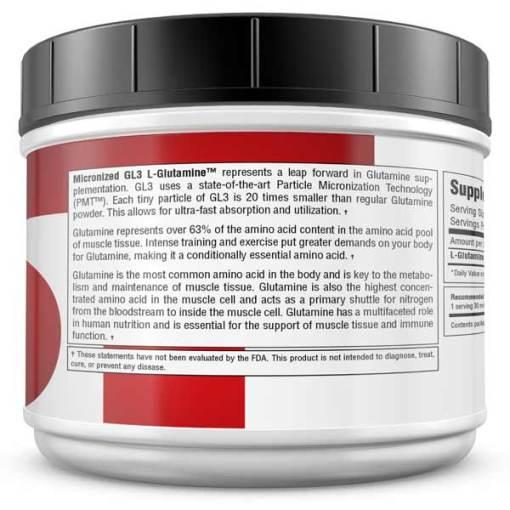 Best Glutamine Supplement - GL3 L-Glutamine 525 Grams - Information Panel