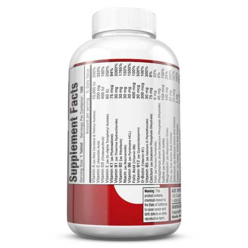 Vitamins - Best Multi Vitamin - MultiPro 32X - The Serious Athlete's Multi-Vitamin - Supplement Facts