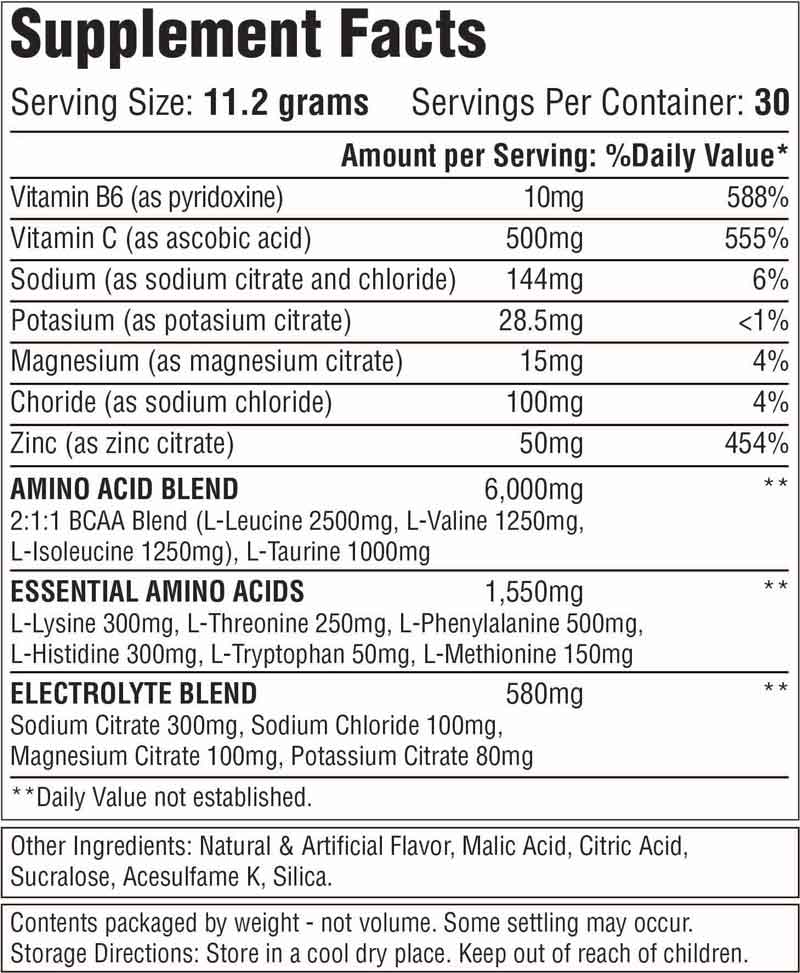 Muscle Energy Supplement Facts
