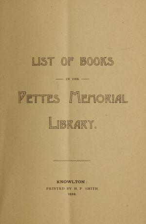 Catalogue de la Petes Memorial Library en 1898
