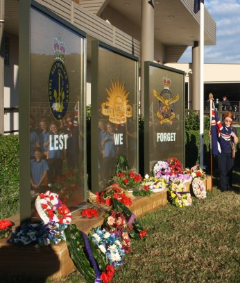 Woonona Girl Guides at Woonona Bulli RSL's new memorial after ANZAC Day Dawn Service 2015