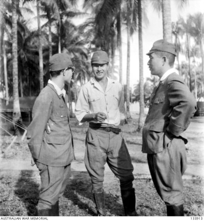Accused War Criminal CAPTAIN SUSIMI HOSHIJIMA (CENTRE), JAPANESE COMMANDANT OF THE PRISONER OF WAR CAMP AT SANDAKAN, BORNEO - convicted and hung