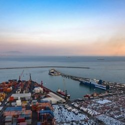 Aerial view of port in Salerno in Italy