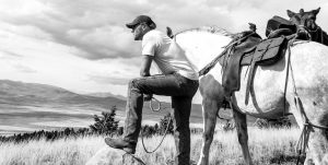 With my horse, Bugs Bunny, in Wyoming