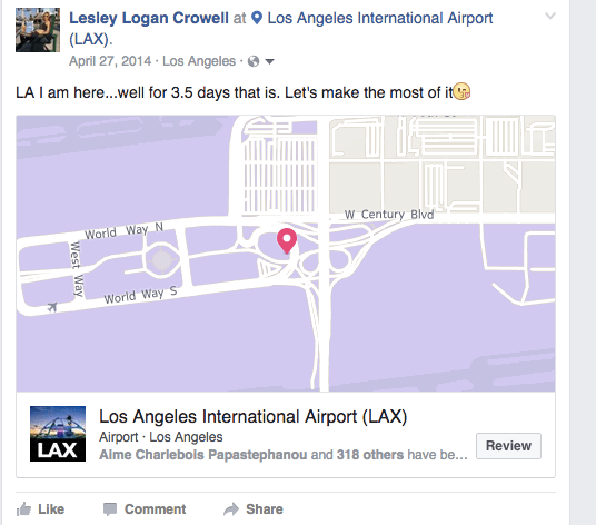 LL LAX Check-In That Brad Saw on FB