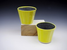 Volcsnic Yellow fluted beakers