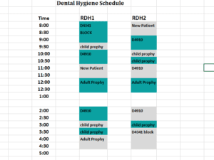 Dental Hygiene Schedule