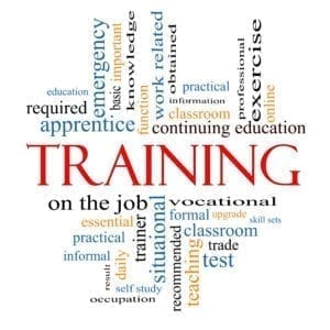 Training - on the job- and other related words support the front desk training idea.