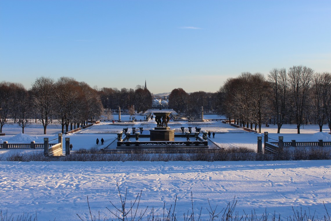 Vigeland Sculpture Park - view of Frogner Park in the snow