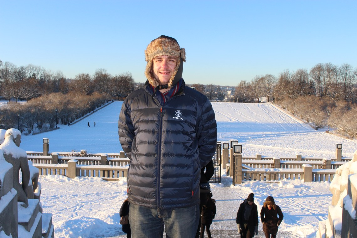 Vigeland Sculpture Park - smiling man in the park in the snow, Oslo