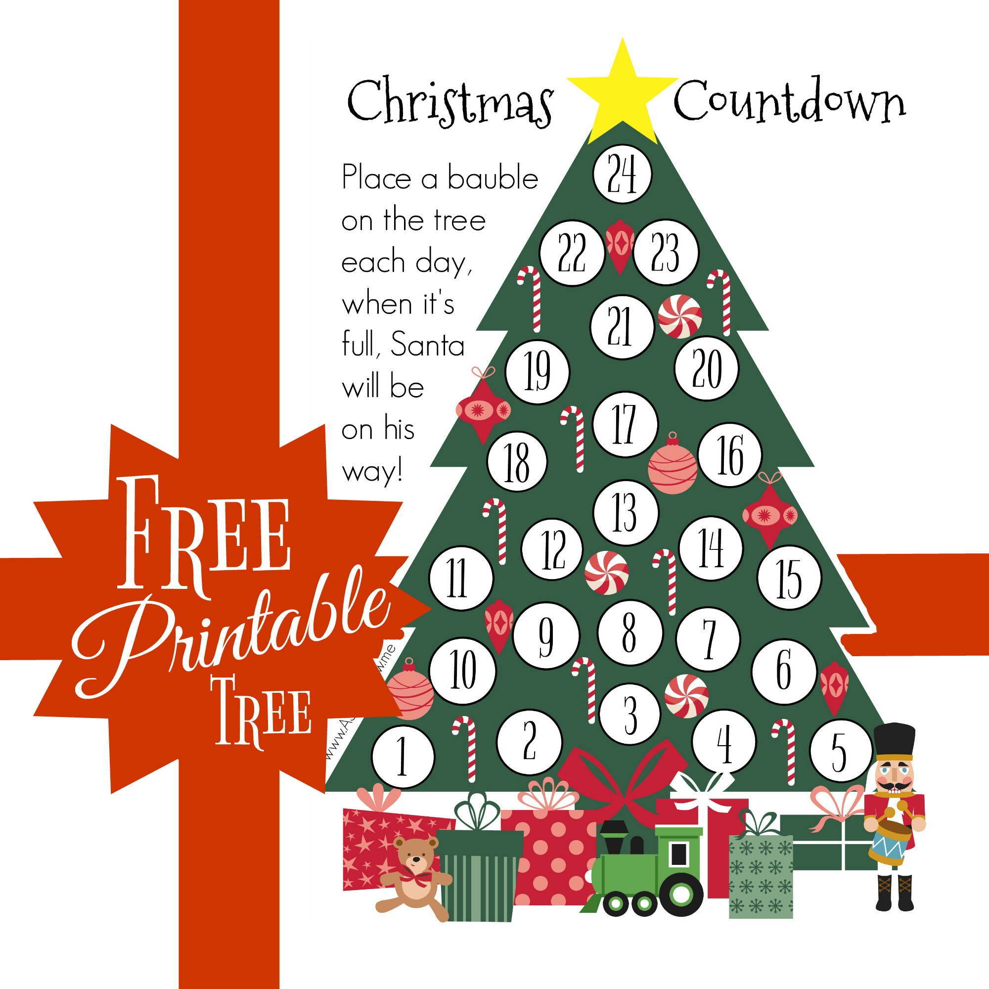 image about Printable Christmas Countdown named Cunning Xmas Countdown - Totally free Printable - AS they mature