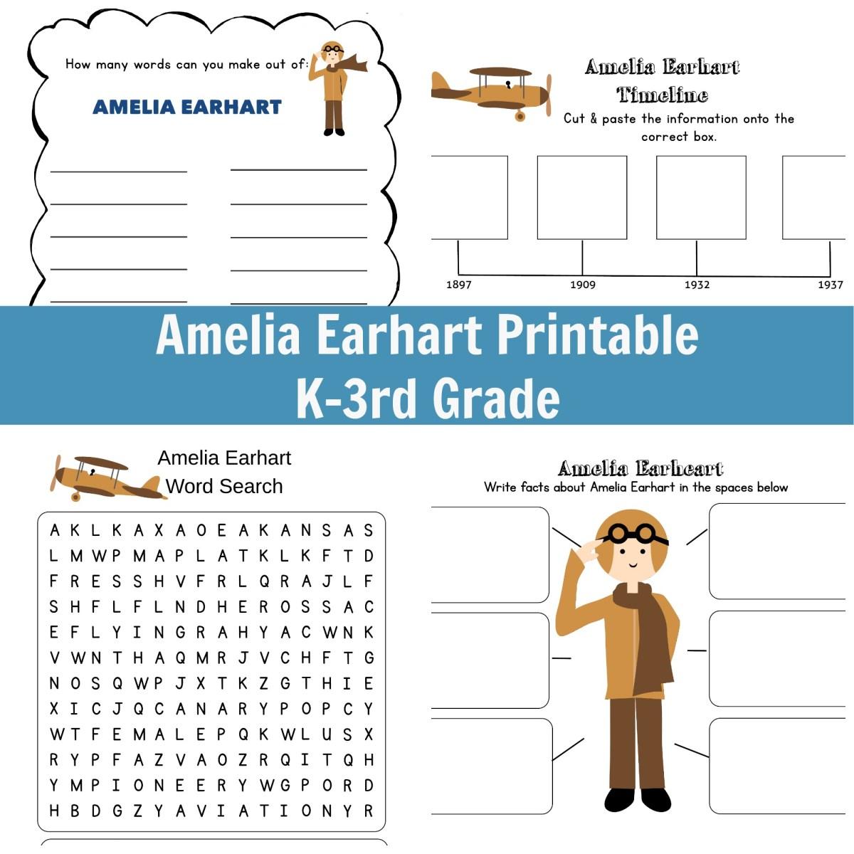 Amelia Earhart Printable - Grades K-3