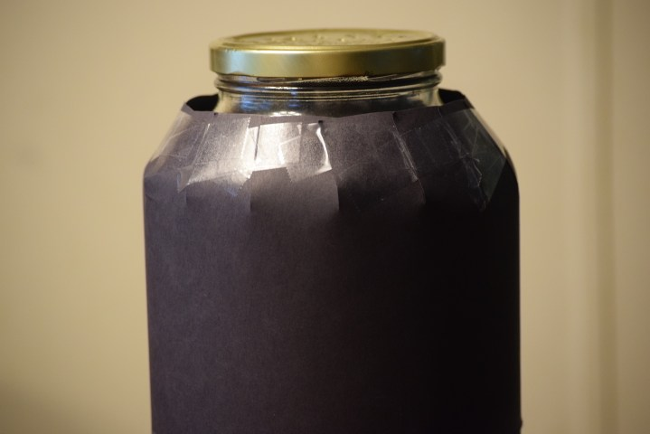 construction paper over jar
