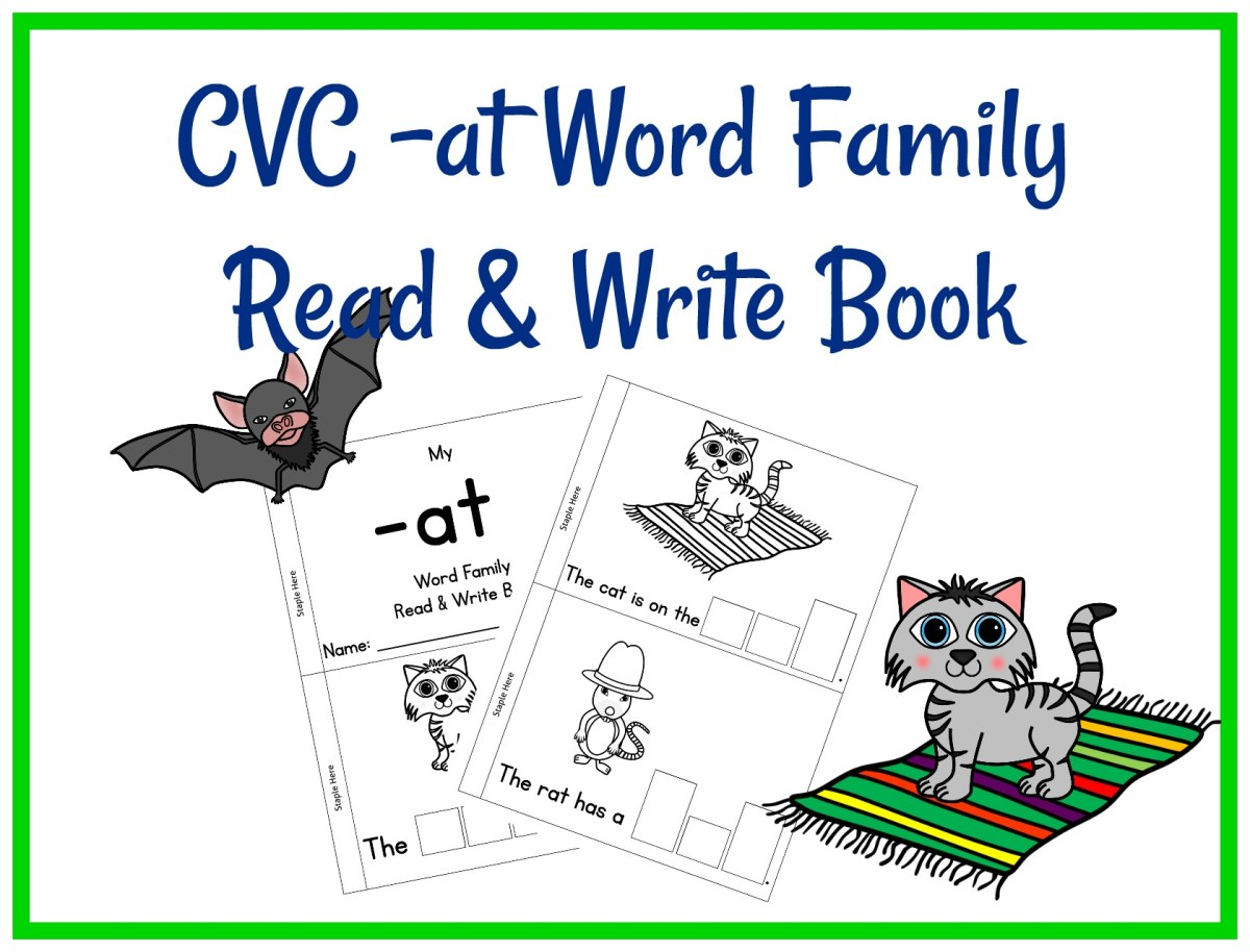 CVC -AT Word Family Read & Write Book
