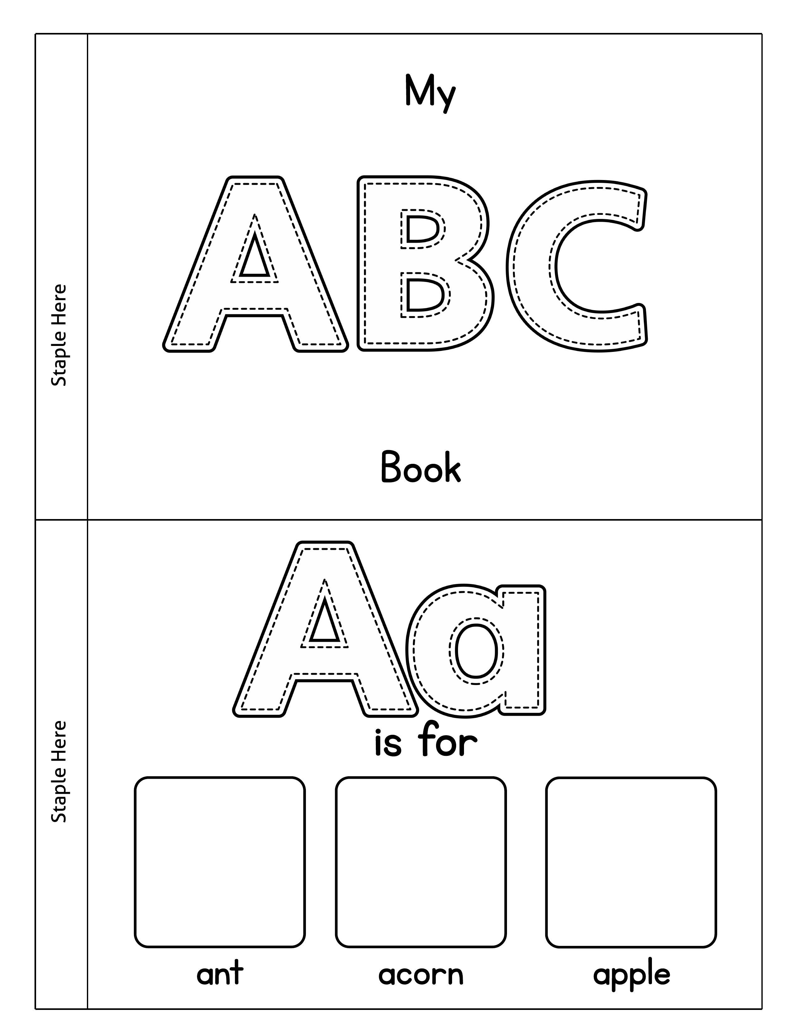 Printable Alphabet Book   Cut, Color & Paste