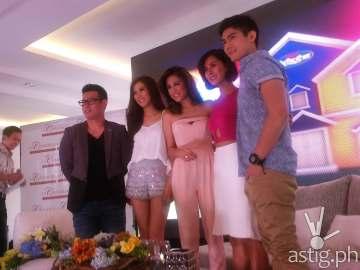 Pinoy Big Brother All In hosts John Prats, Alex Gonzaga, Toni Gonzaga, Bianca Gonzales, and Robi Domingo,