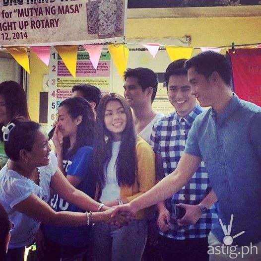 Vivian with PBB All In ex-housemates Jayme, Aina, Ranty, Jacob, and Axel in MUTYA NG MASA