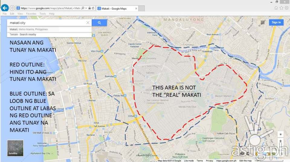 "According to the social media post, the red area is not the ""real"" Makati. Instead, a Makati campaign should include the area surrounded by the blue line."