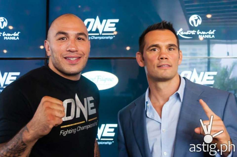 """Brandon """"The Truth"""" Vera and Rich Franklin at the ONE FC press conference held in Manila, Philippines"""