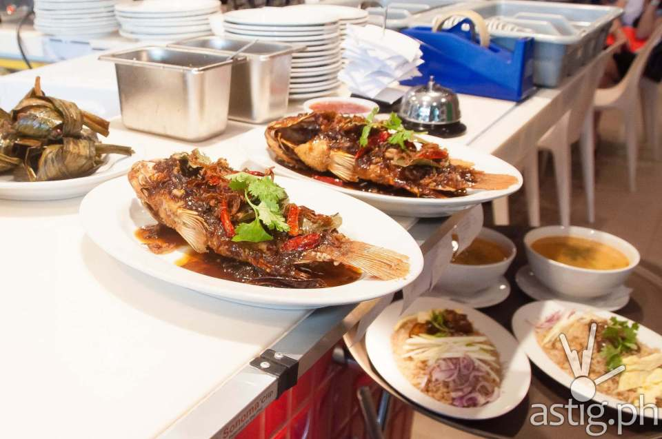 Ready to serve: King fish, bagoong rice, and chicken pandan - Sweet Chili Thai Restaurant