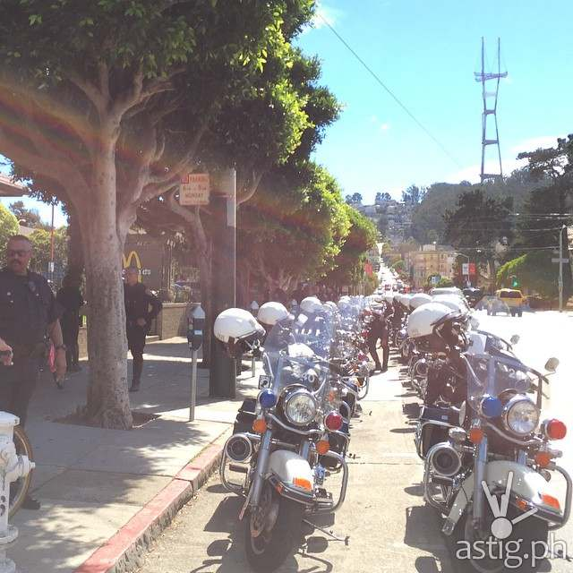 Over 20 police motorcycles are shown here lined up to escort President PNoy during his visit to McDonald's Haight
