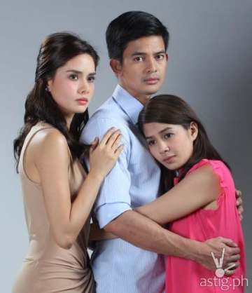 Erich Gonzales, Jason Abalos, and Kaye Abad as Janine, Victor, and Yvonne