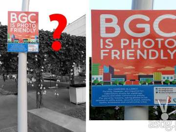 """""""BGC is Photo Friendly"""" traffic sign found in Taguig City"""